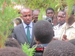 Sen. Mutula Jnr. giving his remarks before planting his tree