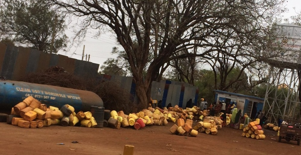 Marsabit county residents queue at a watering point in Marsabit town.